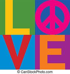couleur, amour, paix, bloc