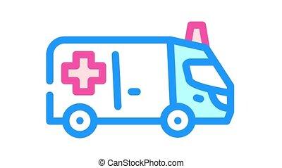 couleur, animation, icône, voiture, ambulance