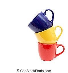 couleur, arrière-plan., blanc, tasses