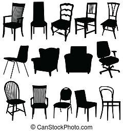 couleur art, illustration, vecteur, noir, chaise