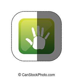 couleur, autocollant, carrée, handprint, icône