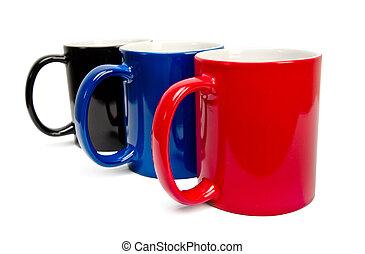 couleur, blanc, céramique, tasses, fond