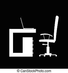 couleur, blanc, illustration, meubles bureau