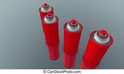 couleur, boîtes vaporisation, rouges