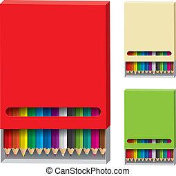 couleur, bois, crayons