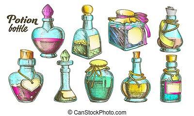 couleur, bouteilles, vecteur, ensemble, collection, potion