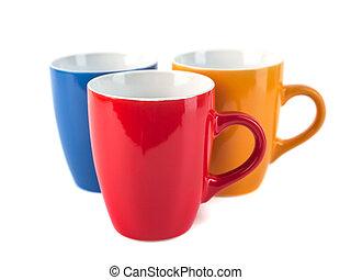 couleur, céramique, trois, fond, blanc, tasses