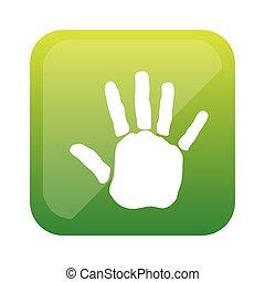 couleur, carrée, handprint, icône