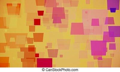 couleur, carrés, en mouvement, jaune