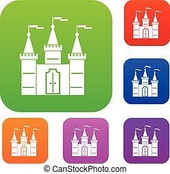 couleur, château, ensemble, collection