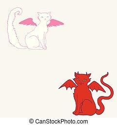 couleur chat, tête, ailes, au-dessus, ange, halo, rose, blanc