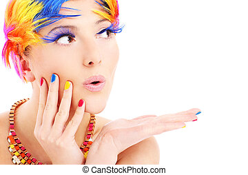 couleur, cheveux, visage femme