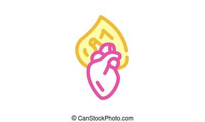 couleur, coeur, animation, icône, brûlé