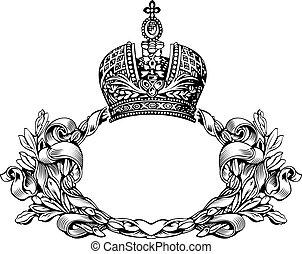 couleur, couronne royale, courbes, une, élégant, retro