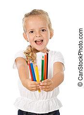 couleur, crayons, petite fille, heureux
