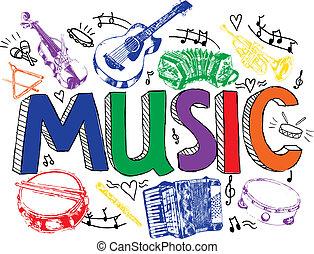 couleur, croquis, musique, fond