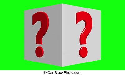 couleur, cube, concept, question, vert, écran, marque, tourner, blanc