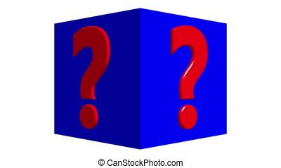 couleur, cube, question, bleu, marque, tourner, concept