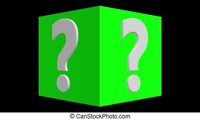 couleur, cube, question, vert, marque, tourner, concept