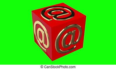 couleur, cube, symbole, vert, signe, écran, rouges, tourner, concept