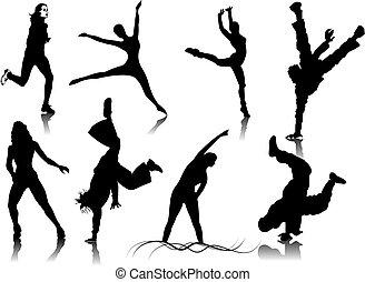 couleur, déclic, femmes, silhouettes., une, changement, vecteur, fitness