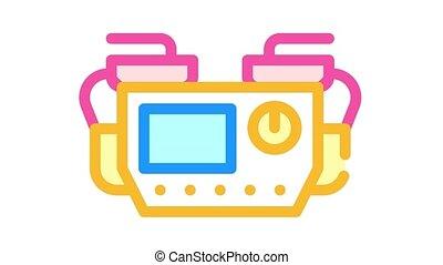 couleur, défibrillateur, animation, icône, équipement médical