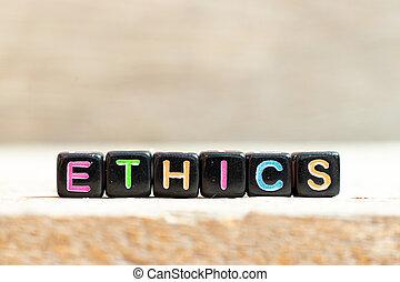 couleur d'arrière-plan, noir, mot, lettre, bois, éthique, perle