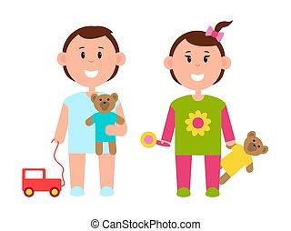couleur, deux, divers, joli, jouets, bannière, enfants
