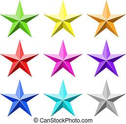 couleur, ensemble, étoile, vecteur