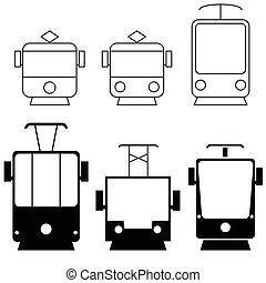 couleur, ensemble, noir, tramway, illustration