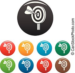 couleur, ensemble, solution, cible, icônes