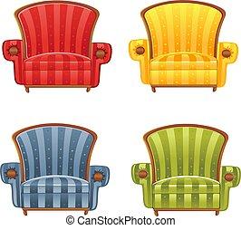 couleur, fauteuil, clair, vecteur