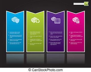 couleur, gabarit, formé, conception, site web, étiquettes, flèche