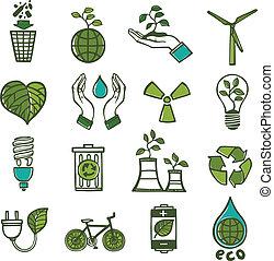 couleur, gaspillage, écologie, ensemble, icônes