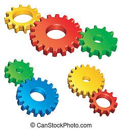 couleur, gears.