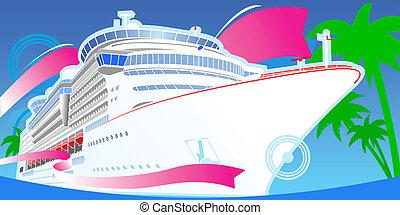 couleur, grand, croisière, boat., luxe