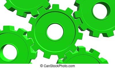 couleur, haut, channel., cinq, arrière-plan., animation, vert, engrenages, fin, alpha, blanc, 3d