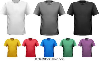 couleur, hommes, noir, t-shirts., template., vecteur, conception, blanc