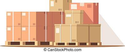 couleur, illustration, rgb, semi, vecteur, entrepôt, plat, cargaison