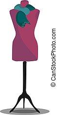 couleur, illustration, vecteur, mannequin, robe violette, ou