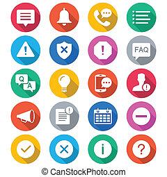 couleur, information, notification, plat, icônes
