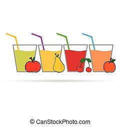 couleur, jus, fruit, vecteur