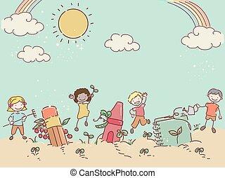 couleur, livre, stickman, jardin, gosses