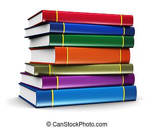 couleur, livres, pile