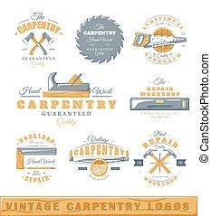 couleur, logos, 2, charpenterie