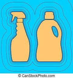 couleur, -, ménage, contour, bleu, bouteilles, champ, ciel, chimique, arrière-plan., noir, contours, vector., carte, signe., equidistant, sea., vagues, icône, aimer, île, océan, sable, ou
