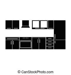 couleur, meubles, noir, illustration, cuisine