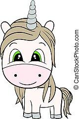 couleur, mignon, brun, dessin animé, unicorn., plat
