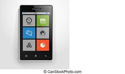 couleur, mobile, moderne, interface, téléphone