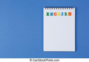couleur, mot, cahier, lettres, anglaise